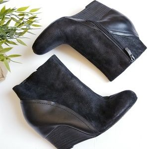 Vince Camuto stacked wood heel wedge booties
